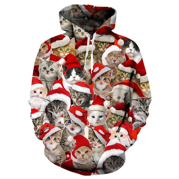 Red Hat Christmas Cat Hoodie