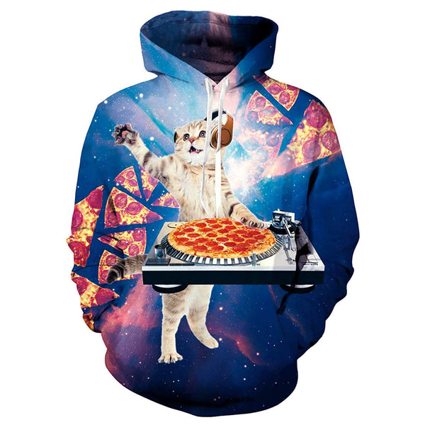 Funny Dj Pizza Cat Hoodie Music Pizza Cat Sweatshirt For Cat Lovers