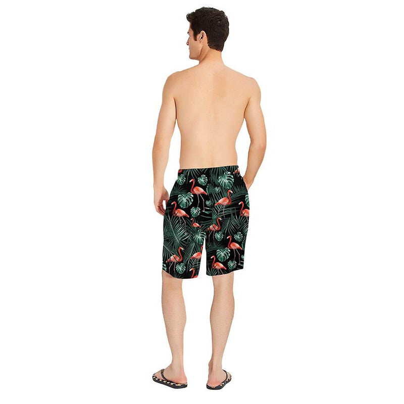 Dark Green Flamingo Swim Trunks