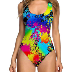 Vintage Colorful Painting Ugly One Piece Bathing Suit