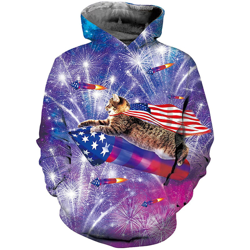 Rocket Cat American Flag Graphic Hoodie