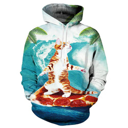 Cat Surfing Pizza Graphic Hoodie