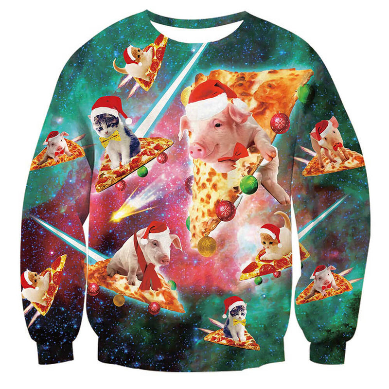 Pig Cat Pizza Ugly Christmas Sweater – D&F