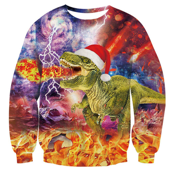Fire Dinosaur Christmas Sweatshirt Ugly Christmas Sweatshirt