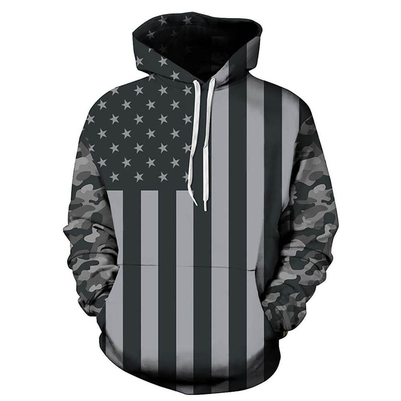 Dark Grey American Flag Graphic Hoodie