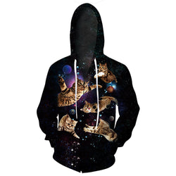 Black Flying Cats Zip Up Hoodie