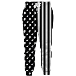 Graphic White Black American Flag Sweatpants Funny American Flag Joggers Pants Sports Trousers with Drawstring