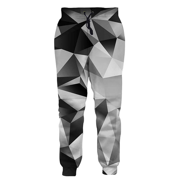 Graphic Black White Diamond Sweatpants Funny Geometric Joggers Pants Sports Trousers with Drawstring