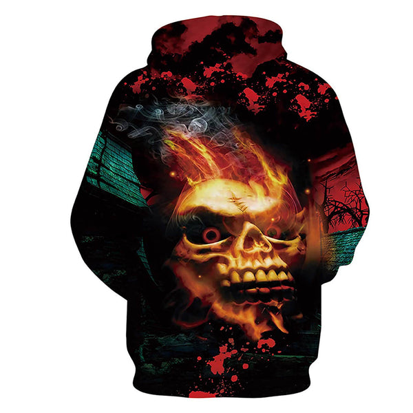 Fire Skull Hoodie Stylish Fire Skull Sweatshirt