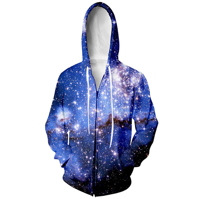 Unisex Space Galaxy Zip Graphic Hoodie