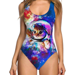 Vintage Astronaut Cat Ugly One-Piece Bathing Suit