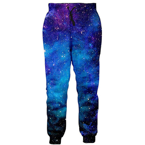 Men/Women Galaxy Sweatpants Funny Blue Galaxy Space Joggers Pants Sports Trousers with Drawstring