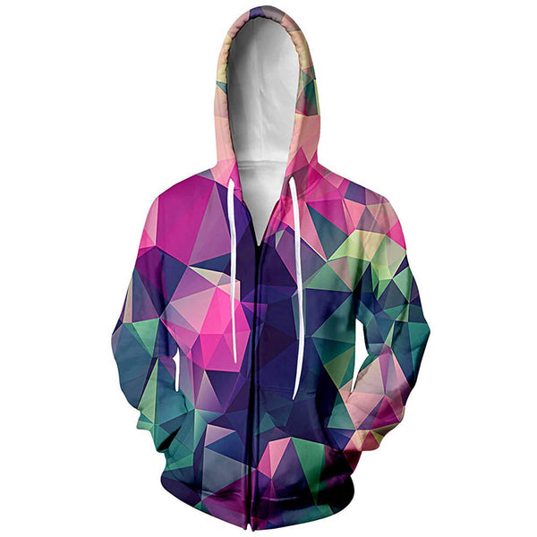 Geometric Diamond Zip Up Graphic Hoodie