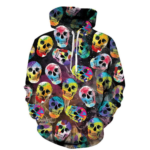 Colorful Skulls Hoodie Stylish Skull Sweatshirt