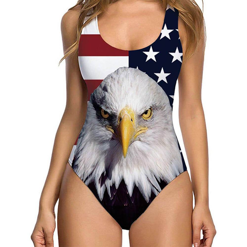 American Flag Eagle Ugly One Piece Bathing Suit