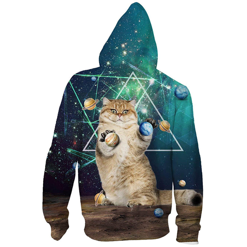 Planet Cat Zip Up Graphic Hoodie