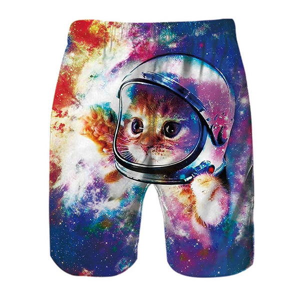 Space Astronaut Cat Funny Swim Trunks
