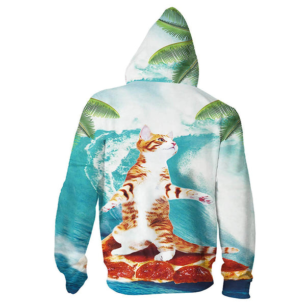 Cat Surfing On Pizza Hoodie Zip Up Cat Sweatshirt