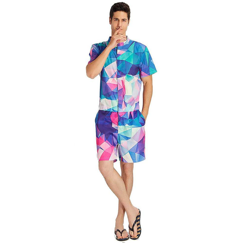 Geometric Printed Male Romper