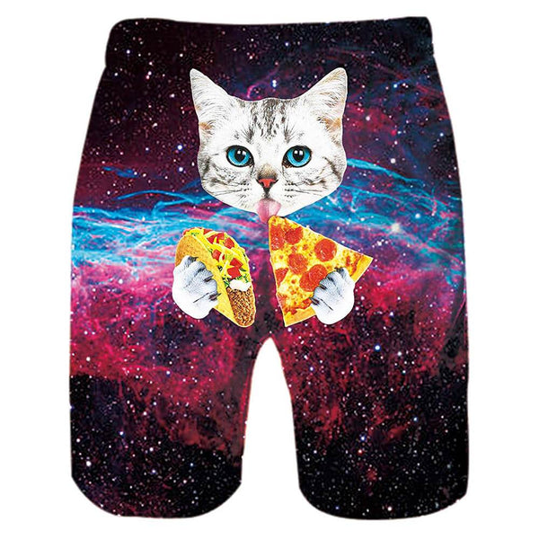 Pizza Taco Cat Funny Swim Trunks