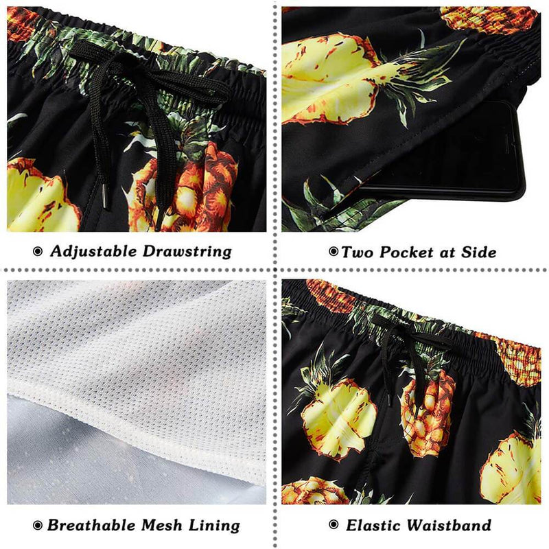 Black Pineapple Swim Trunks