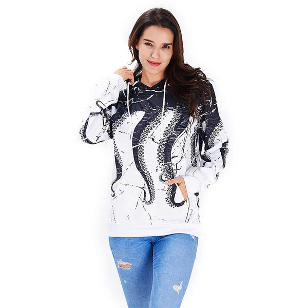 Unisex 3D Printed White Black Octopus Hoodie Drawstring Octopus Hoodies Hooded Pullover Sweatshirt Pockets