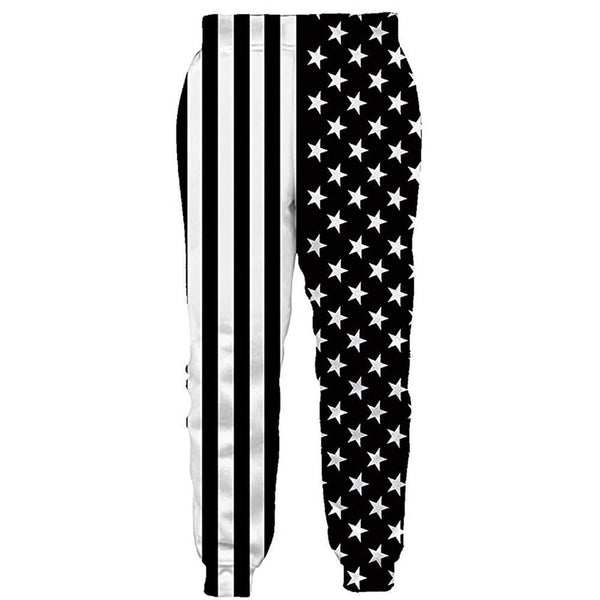 Graphic White Black American Flag Joggers