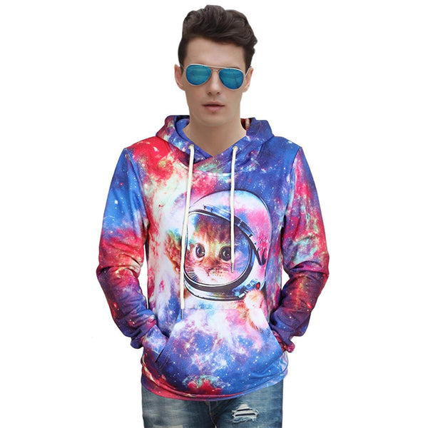 Space Cat Hoodie Cute Astronaut Cat Sweatshirt For Cat Lovers