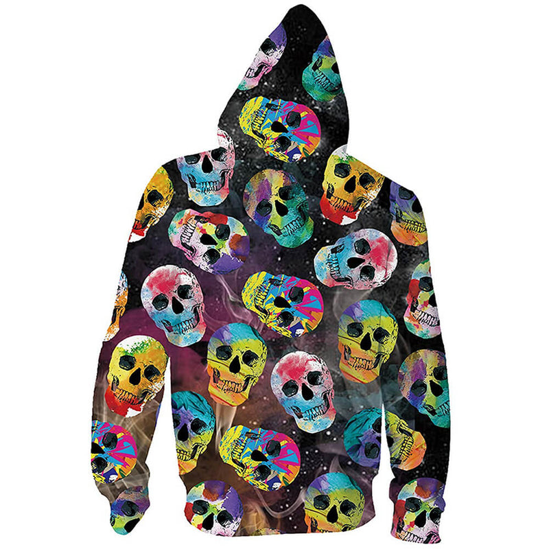Colorful Skull Zip Up Graphic Hoodie