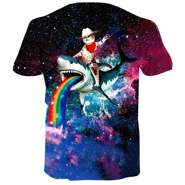 Cat Riding Shark T Shirt