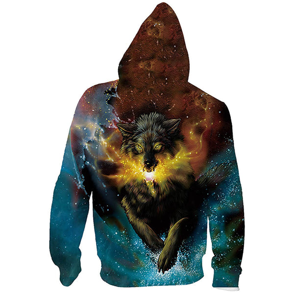 Galaxy Wolf Zip Up Graphic Hoodie