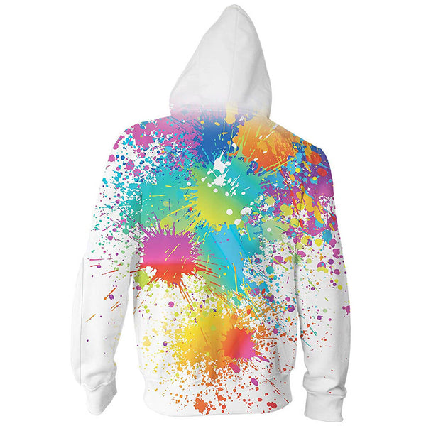 Colorful Painting Zip Up Graphic Hoodie