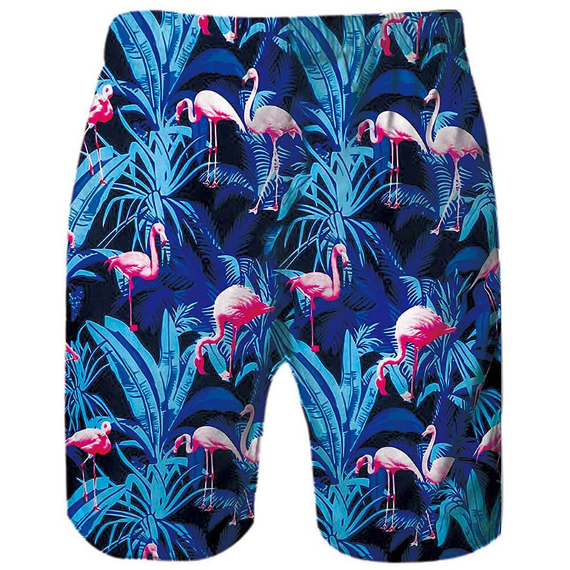 Blue Flamingos Funny Swim Trunks