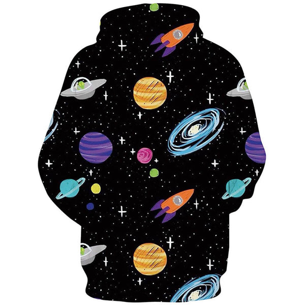Spacecraft Casual Graphic Hoodie
