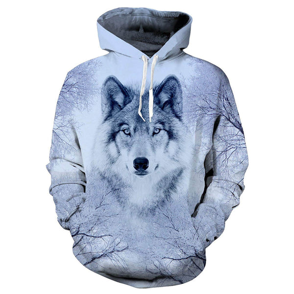 Wolf Hoodie Snow Forest Wolf Hooded Sweatshirt For Teen