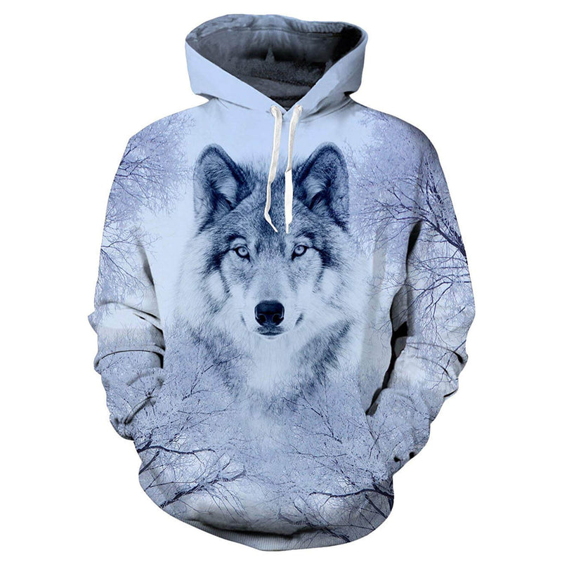 Snow Forest Wolf Graphic Hoodie