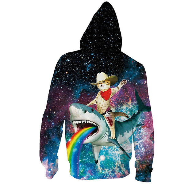 Cat Riding Shark Zip Hoodie