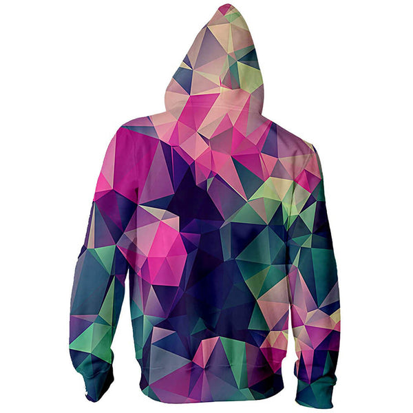 3D Graphic Printed Geometric Zip Up Hoodies Sweaters with Fleece Plush Lining Funny Realistic Geometric Pullover