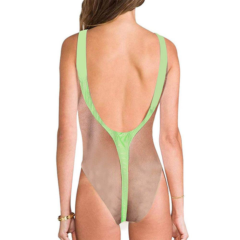Hairy Chest Ugly One Piece Bathing Suit With Green Strap