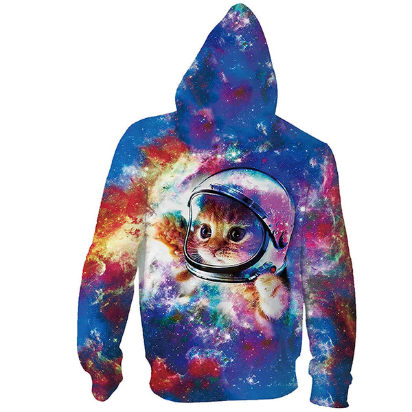 Space Cat Zip Up Hoodie Cute Space Cat Sweatshirt