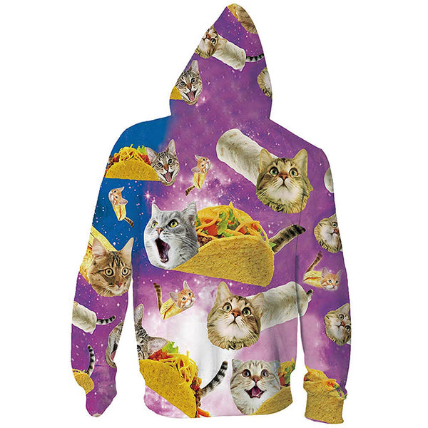Unisex Taco Cat Zip Up Graphic Hoodie