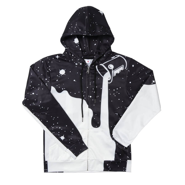 Pouring Milk Black Zip Up Hoodie Stylish Milk Printed Sweatshirt