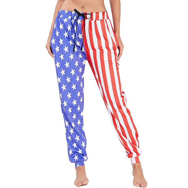 Graphic Sweatpants Funny American Flag Joggers Pants Sports Trousers with Drawstring