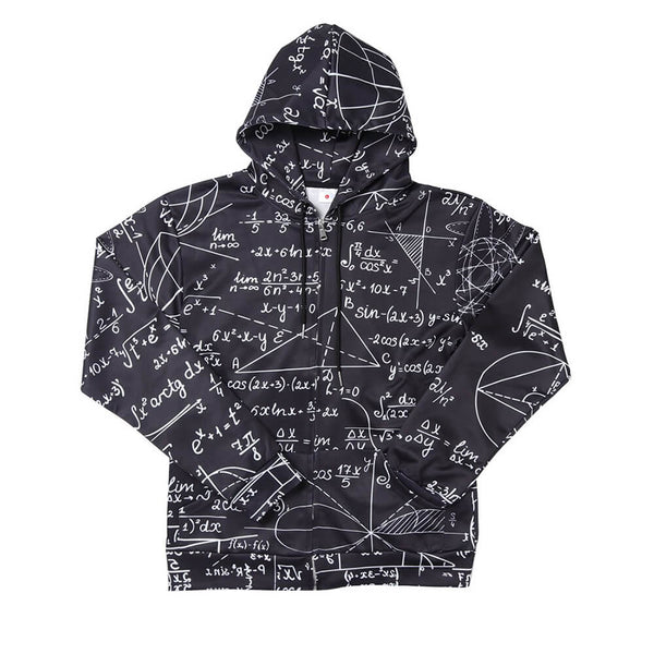 3D Graphic Printed Math Zip Up Hoodies Sweaters Black with Fleece Plush Lining Funny Realistic Math Pullover
