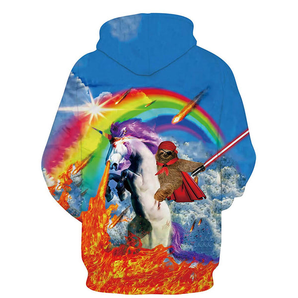 Sloth Riding Unicorn Hoodie