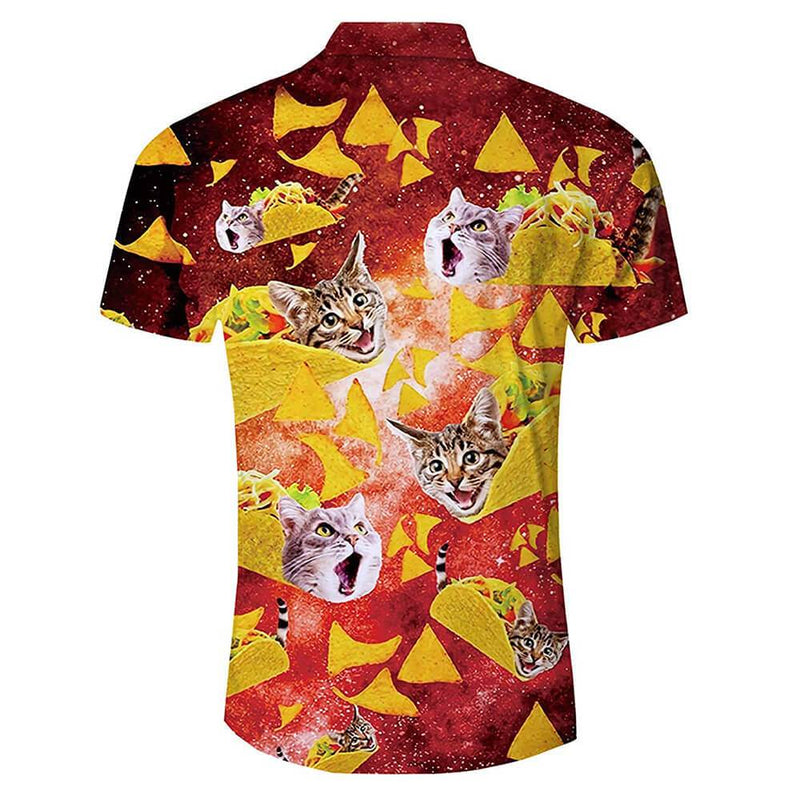 Red Taco Cat Funny Hawaiian Shirt