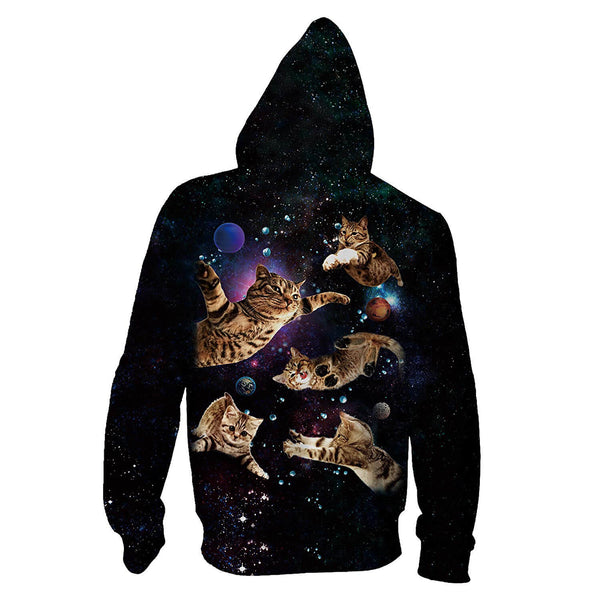 Black Flying Cats Zip Up Graphic Hoodie