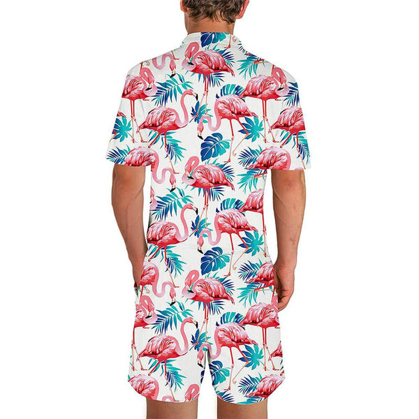 Flamingo Male Romper White