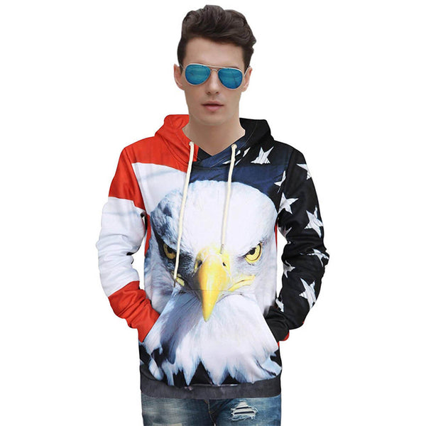American Flag Hoodie Eagle Patriot Hooded Sweatshirt