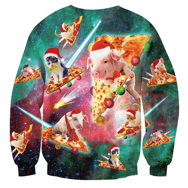 Unisex Ugly Christmas Sweater Pig Cat Pizza Sweatshirt 3D Print Funny Xmas Pullover Sweatshirt